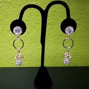 Jewelry - Tiki Pineapple Rhinestone Earrings